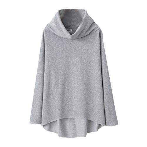 Amlaiworld Women Winter Cotton Sweater Casual Irregular High Collar Pullover Blouse Scarf Collar Top Sweatshirt Gray