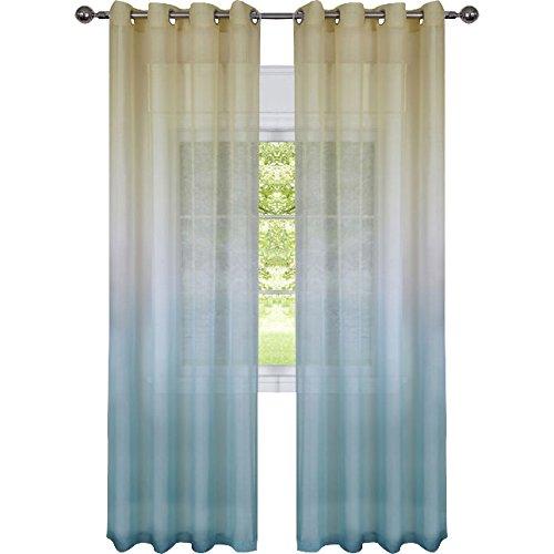 Rainbow Ombre Grommet Window Curtain Panel (52x63, Blue/Yellow)
