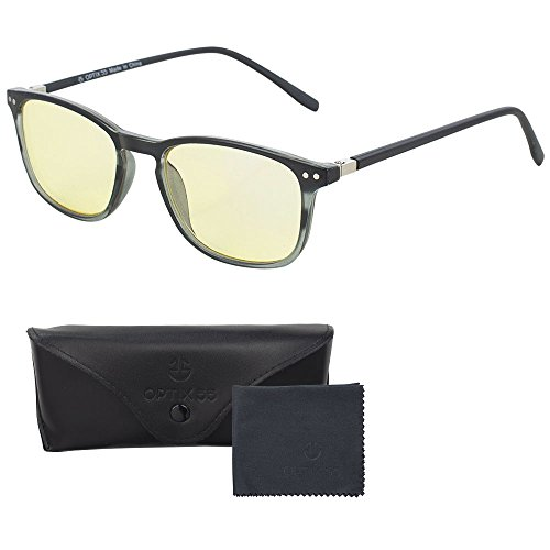 Computer Lens Reading Glasses - Yellow Tinted Lenses with Blue Anti Reflective Coating to Reduce Eye Strain & Screen & Monitor Glare - Bonus Case and Cleaning Cloth - Optix - Computer Glasses Monitor