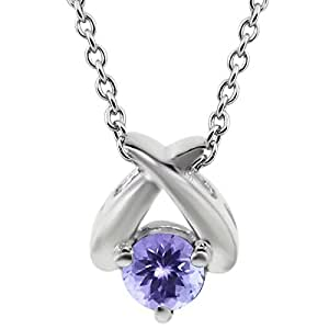 """0.46 Ct Round Blue AAA Tanzanite 925 Sterling Silver Pendant 18"""" Chain"""