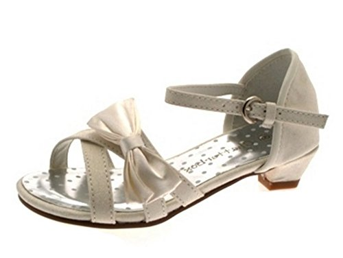 GIRLS KIDS SATIN FLOWER DIAMANTE WEDDING BRIDAL BRIDESMAID IVORY CREAM SHOES SANDALS HEELS WEDGES 6- 2 Ivory Bonnie