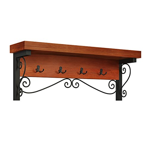 Whitby Chestnut Wood and Metal Scroll Coat - Wall Metal Chestnut
