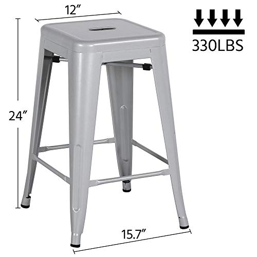 Yaheetech 24 Metal Bar Stools Counter Height Barstools Set of 4 High Backless Industrial Stackable Metal Chairs Indoor Outdoor
