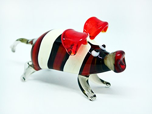 Red Glass pig figurine animals glass pig miniature art glass pigs toy murano piggy animals pig figure glass gifts pigs (Murano Glass Pig Figurine)