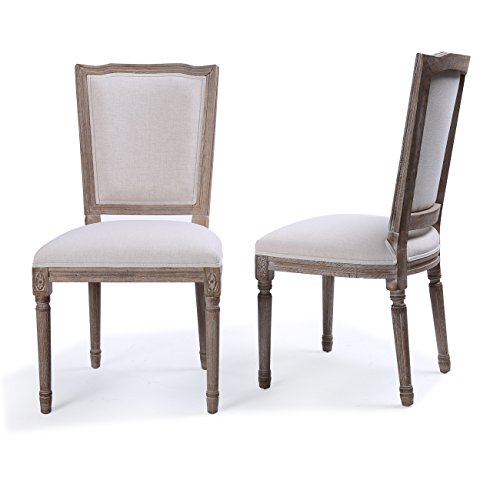 Belleze Set of (2) Modern Classic Elegant Upholstered Linen High Back Formal Dining Chairs W/Wood Legs, Beige