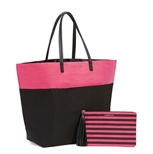 Victorias Secret Adrianas Must-Have Tote Pink Black & Cosmetics Bag