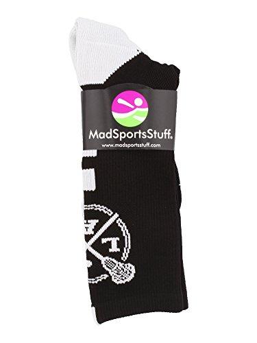 MadSportsStuff LAX Lacrosse Socks Lacrosse Sticks Athletic Crew Socks (Black/White, Large) by MadSportsStuff (Image #1)