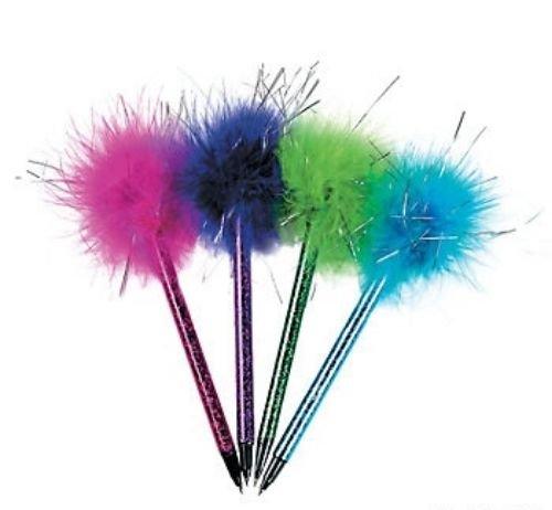 12 Pc. Plastic Metallic Marabou Pens Party Favor Birthday Back to School ()