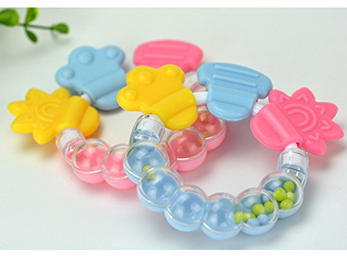 2 Count Baby Teether & Teething Rings Toys Baby Rattles -Fun, Colorful, Soothing Pain Relief and Drool Proof Infant Toys (Teething Fun Rattle)