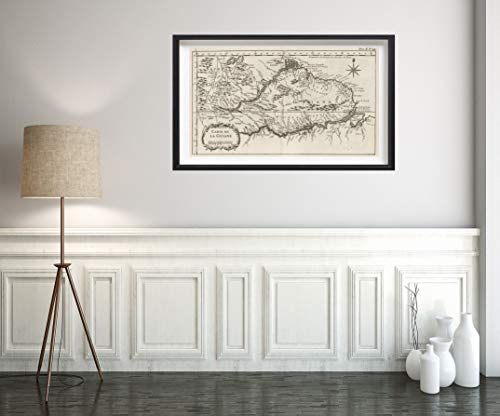 (1764 Map|Chart Atlas Carte de la Guiane|Historic Antique Vintage Reprint|Size: 14x24|Ready to Frame)