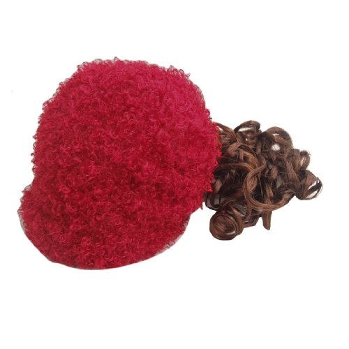 Uxcell Soft Synthetic Fiber Girls Cap Curly Wig/Hat Hairpiece, Red/Brown, 0.12 Pound