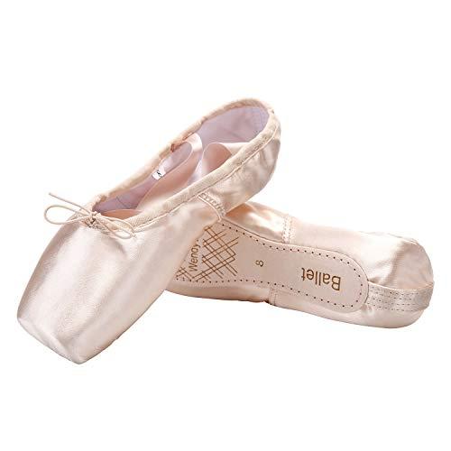 Ballerina Shoes - WENDYWU Girls Womens Ballet Shoes Dance Shoe Pink Satin (6)
