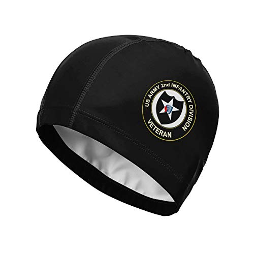 US Army Veteran 2nd Infantry Division Swimming Caps Swim Hat Bathing Cap for Men/Women Adult Funny Novelty