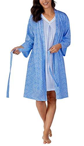 (Carole Hochman Women's Jersey Knit Chemise & Robe Set (Blue,)