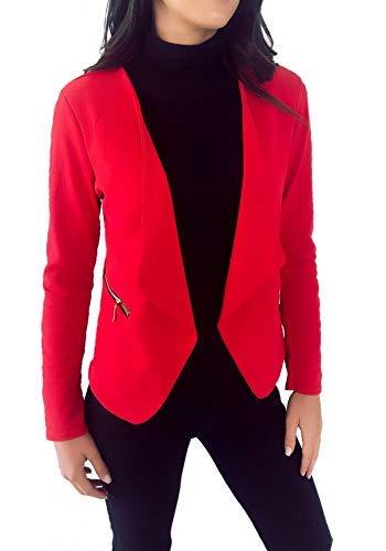 Française Dmarkez vous Poches Habillée Veste Avec Zip Chic Et Blazer Or Fabrication Unie Courte Femme Rouge wBr6qHw
