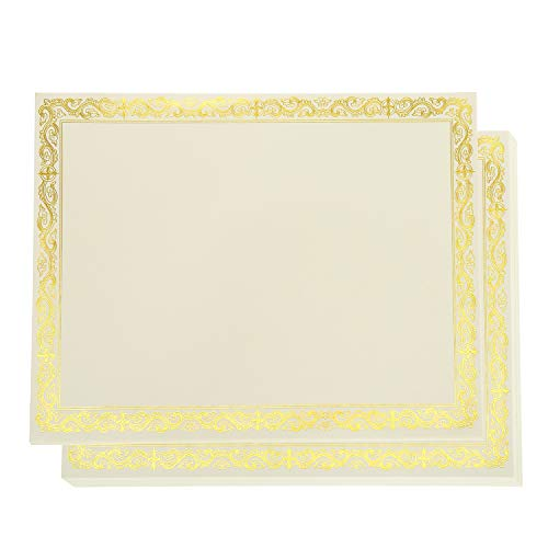 - Fasmov 50 Blank-Inside Certificate Papers Gold Border Certicates Computer Paper Laser and Inkjet Printer Compatible, Award Certificates (11