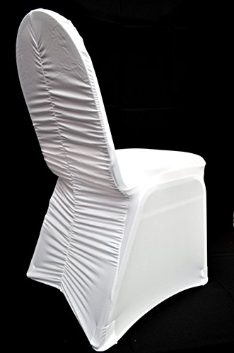 10 PCS White Milan Back Ruched Spandex Banquet CHAIR COVER