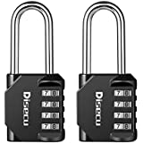 Disecu 4 Digit Combination Lock 2.2 Inch Long Shackle and Outdoor Waterproof Resettable Padlock for Gym Locker, Hasp Cabinet, School, Fence, Gate (Black,Pack of 2)