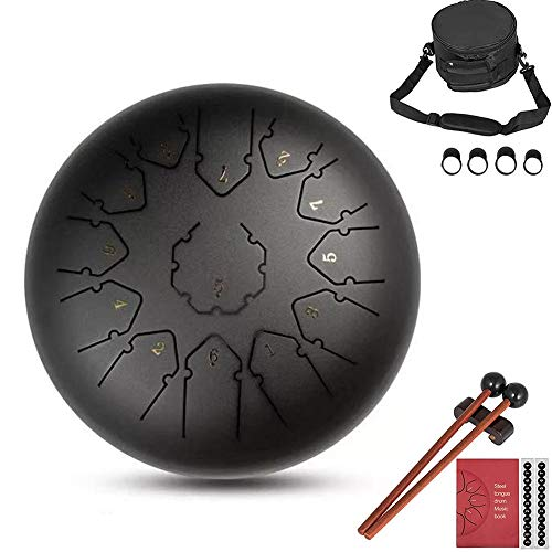 Intenst Steel Tongue Drum 13 Notes 12 Inch Mini Pan Drum Percussion with Mallets Music Book Bag Percussion Instrument