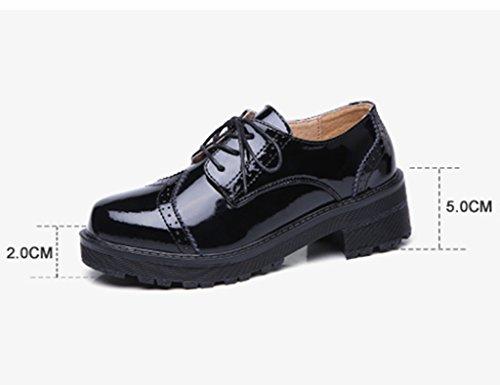 Femenino Tamaño mujer Color Zapatos Negro 40 Primavera De Británico Encaje para De Estudiantes De Negro Ms La HWF Zapatos Estilo Mujer Universitarios TTq5Hw8