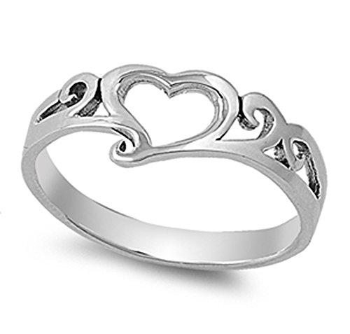 Sterling Filigree Heart Ring (Simple Cute Heart Promise Purity Filigree Ring Sterling Silver Band Size 7)