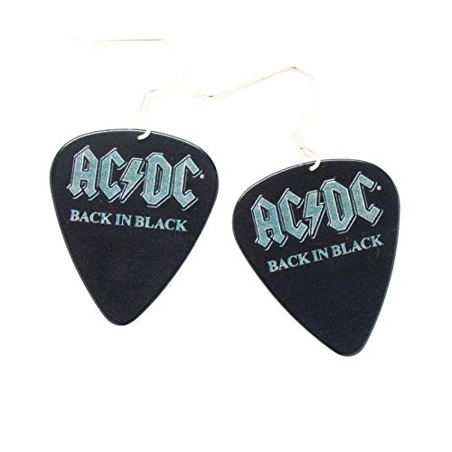 AC DC Back In Black Earrings ACDC Logo Guitar Pick Rock Music Metal Jewelry (Logo Dc Guitar)