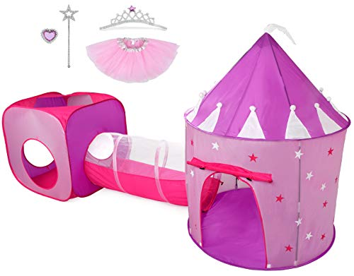 Hide N Side Gift for Girls, Princess Tent with Tunnel, Kids Castle Playhouse w Glow in The Dark Stars & Princess Dress up Play Set, Birthday Gift Present for Age 2 3 4 5 6 7 Years