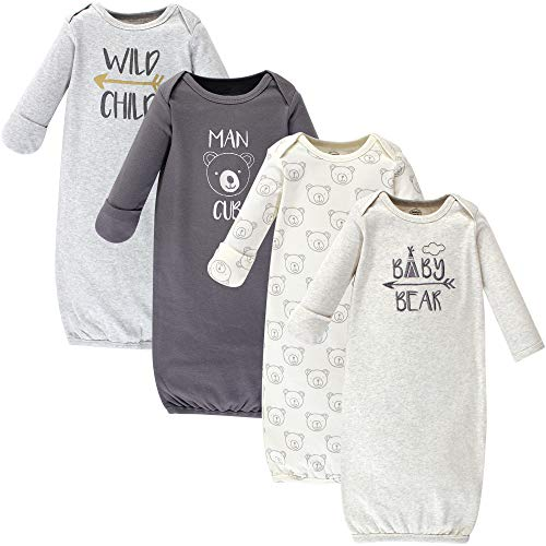 (Luvable Friends Baby Cotton Gowns, Bear 4-Pack, 0-6 Months)