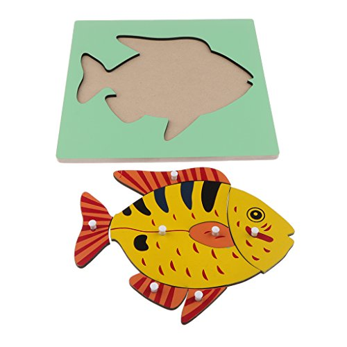 Baoblaze Montessori Wooden Nature Materials Fish Animal Puzzle for Baby Toddler Early Preschool Educational Learning Toy (Jigsaw Wooden Big Fish)