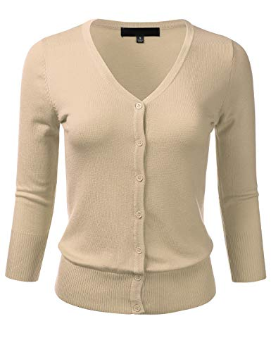 FLORIA Women's Button Down 3/4 Sleeve V-Neck Stretch Knit Cardigan Sweater Taupe M