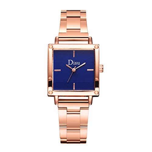 LUCAMORE Womens Casual Wristwatch Lady Square Dial Stainless Steel Quartz Watch Dress Watch