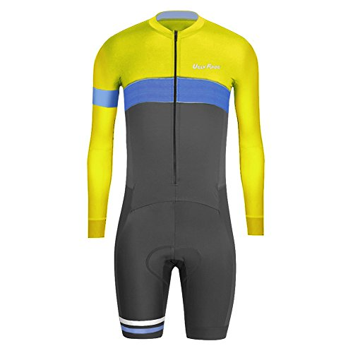 (Uglyfrog 2016 New Men's Skinsuit Long Sleeve Cycling Jersey with Short Legs with Gel Pad Outdoor Sports Wear Triathon Clothing)