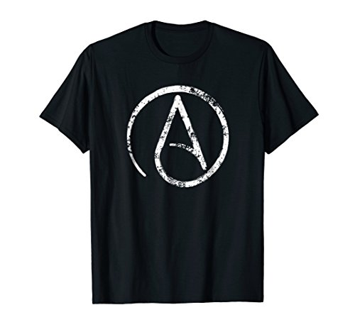 Mens Distressed Atheism, Atheist Symbol T Shirt. Large Black