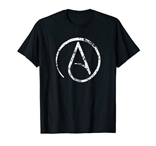 Mens Distressed Atheism, Atheist Symbol T Shirt. 3XL Black