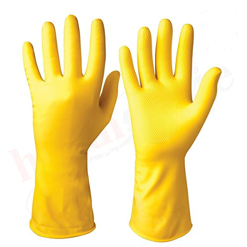 PR Cleaning Gloves Reusable Rubber Hand Gloves, Stretchable Gloves for Washing Cleaning Kitchen & Garden (Sunrise Yellow…
