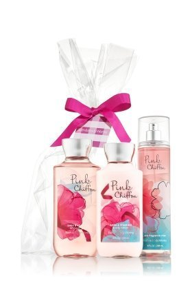 Bath & Body Works Pink Chiffon Set - Shower Gel 10oz, Fragrance Mist 8oz & Body Lotion 8oz