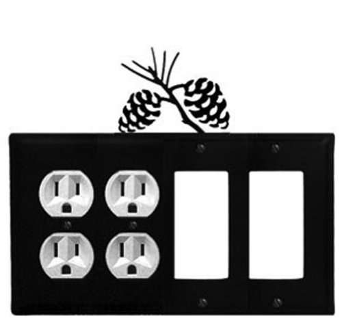 (Iron Pine Cone Double Outlet, Double Modern Switch Cover - Black Metal)