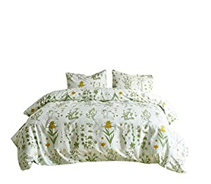 RheaChoice Botanical Pastoral Floral Plant Canary Yellow Design 3 Piece Duvet Cover Set with Zipper Full/Queen (90