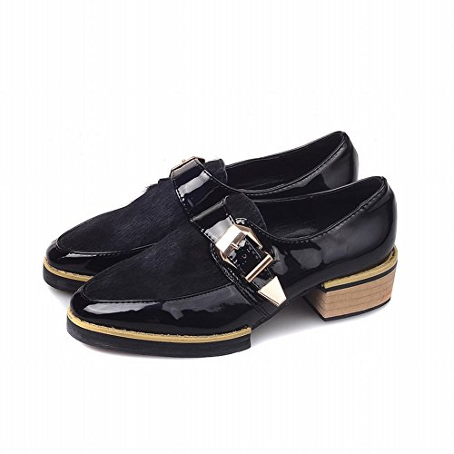 Latasa Womens Chic Pointed Toe Low Chunky Heels Slip on Loafers Monk Strap Shoes Black wq7XsrJ
