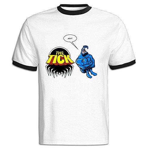 NINJOE Men's Cotton The Tick Man Sport T Shirt Black S -