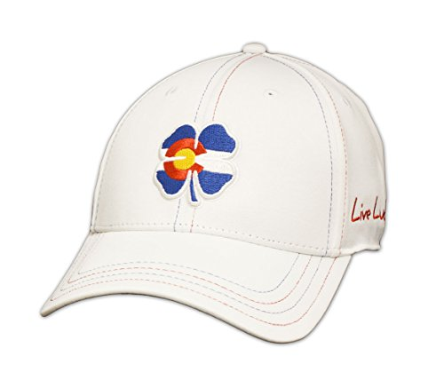 Black Clover New Colorado Flag Live Lucky #1 White Fitted S/M Golf Hat/Cap