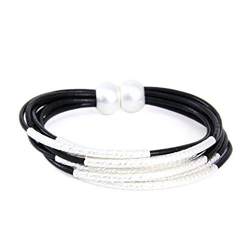 - Me Plus Metal Tube Multi Strand Leather Cord Magnetic Closure Bracelet (Black)