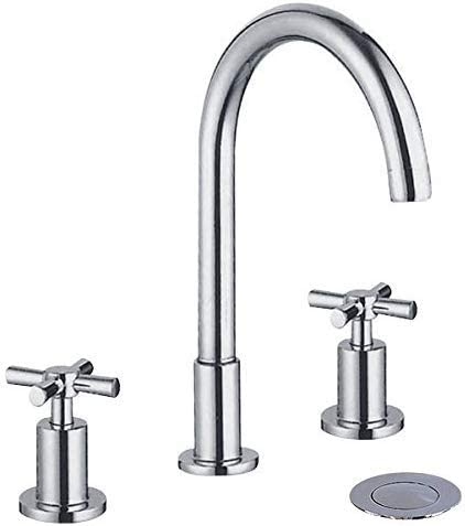 YANNLII Chrome Widespread Waterfall Bathroom Sink Faucet,Two Handle Three Hole Lavatory Faucet,8-16 Inch Basin Mixer Tap With Pop Up Drain