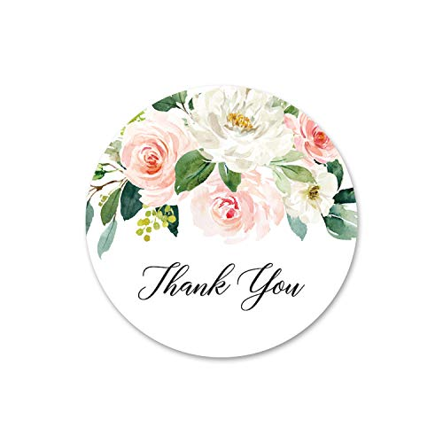 40 cnt Blush Floral Thank You Stickers - Favor Stickers - Thank You Labels and Seals