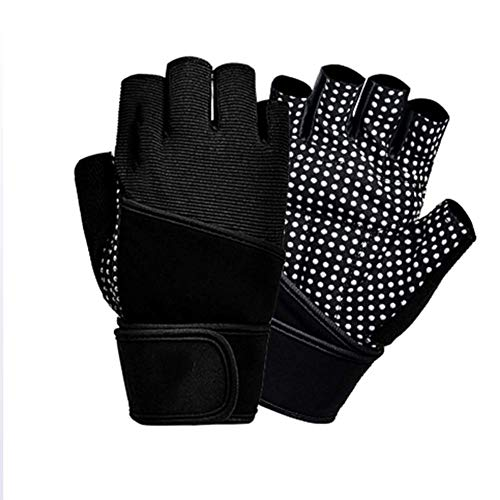 - OPENDOORRED Outdoor Sports Gloves, Gym Training Sports Non-Slip Breathable, Half-Finger Protecting Gloves with Wrist Wraps Supportwear Strength Training,Silver,XL