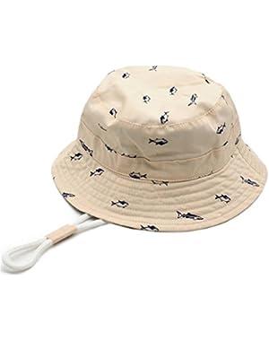 Kids Summer Adjustable Bucket Sun Hat Foldable Beach Fisherman Cap with Chin Strap