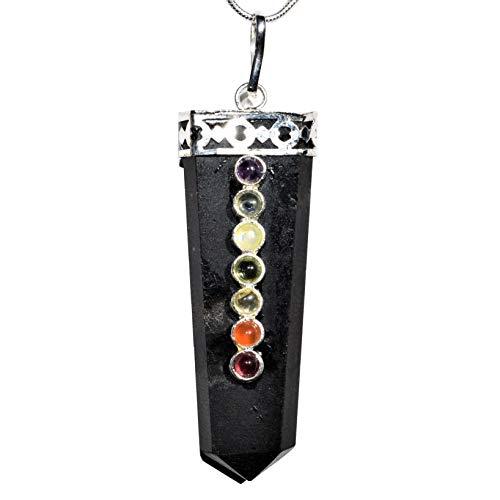 Charged 7 Chakra Black Tourmaline Crystal Perfect Pendant + 20