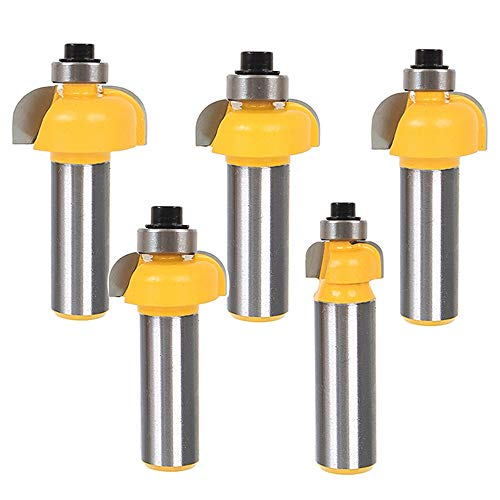 """Yakamoz 5Pcs 1/2 Inch Shank Cove Router Bit Set Edge Forming and Molding Cutter Bits with Bearing Woodworking Cutting Tool 