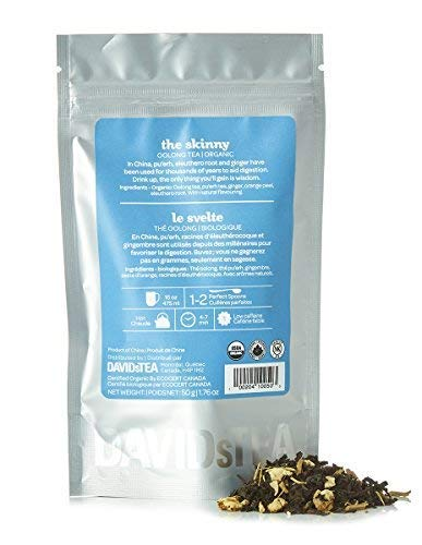 - DAVIDsTEA Organic The Skinny Loose Leaf Tea, Premium Oolong Tea with Pu'erh, Ginger and Eleuthero for Weight Loss, 2 oz