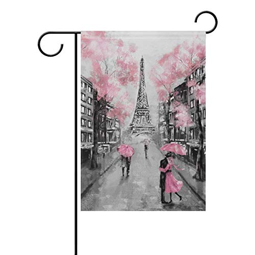 Johnnie Eiffel Tower France Paris Garden Flag 12 X 18 Inches, Double Sided Seasonal Outdoor Flag and Best for Party Yard Home Decor -